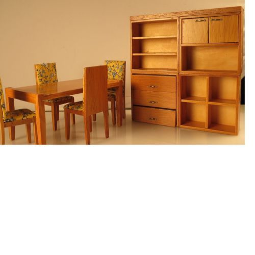 Dollhouse Miniature Modern Dining Room Furniture Set Chair Table Cabinet New | eBay