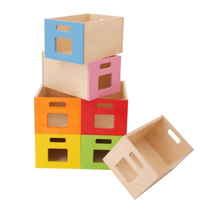 dřevěné krabice na hračky - velké s průhledem -