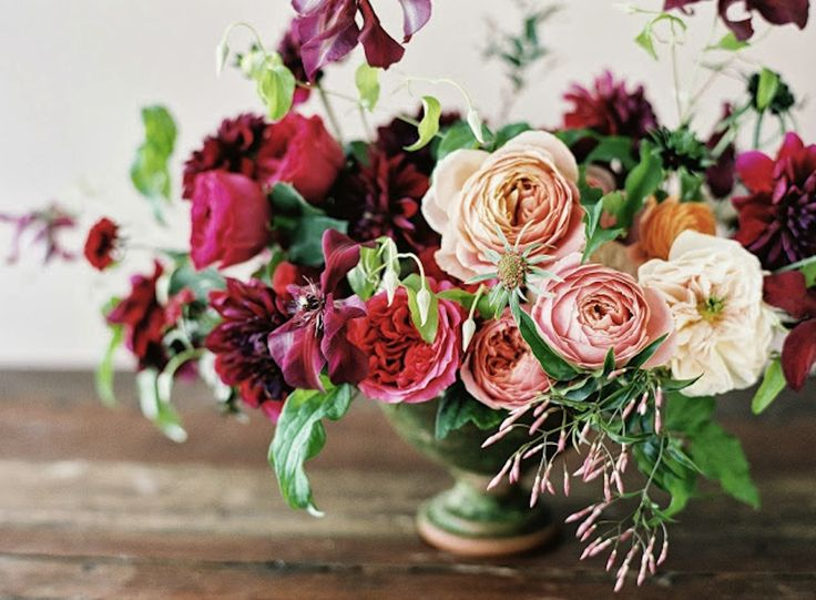 great color story...what do you think about the color distribution here? burgundy / peach / cream / green