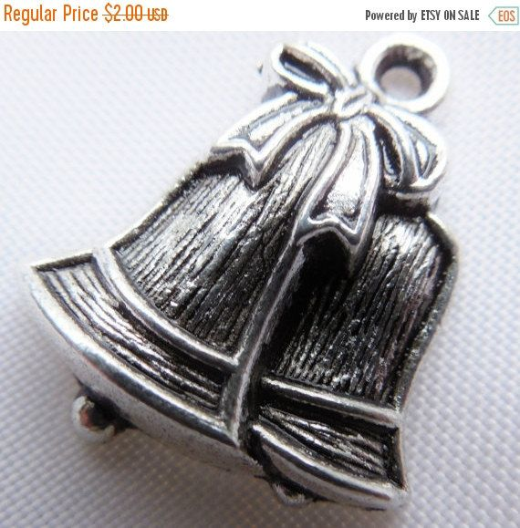 20%OFFCYBERSALE 24pcs Silver Bell Charms by FireSwanBeads on Etsy