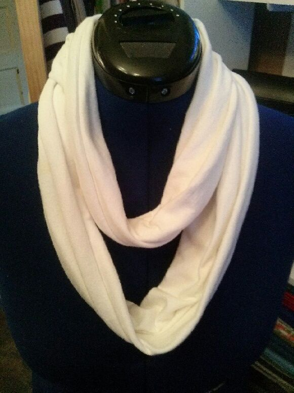 This white cotton infinity t-shirt scarf can be worn different ways.