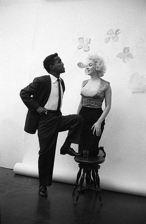 Marilyn Monroe and Sammy Davis Jr. photographed by Milton Greene, 1955.