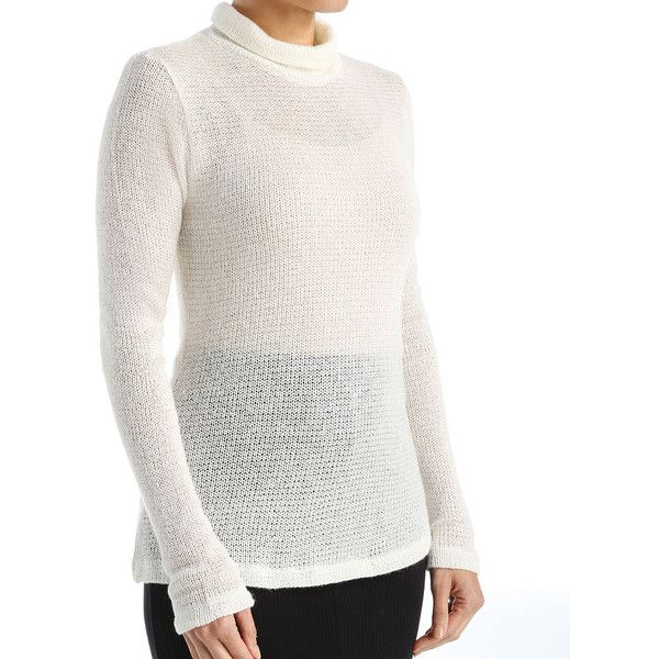 Cosabella AVR1891 CSBLA LS Turtleneck ($55) ❤ liked on Polyvore featuring tops, sweaters, white cami, white turtleneck sweater, white cami top, long cami and white pullover sweater