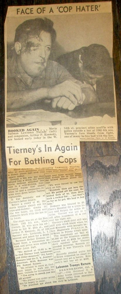 """""""FACE OF A 'COP HATER'"""" Lawrence Tierney Newspaper Clipping Booked"""