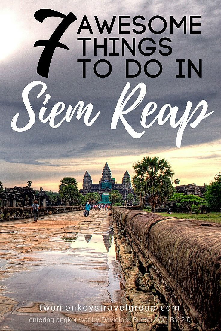 7 Awesome Things To Do in Siem Reap, Cambodia. Home of the renowned Angkor Temple complex Siem Reap lies in the northwestern part of Cambodia and is a favorite stopover in Southeast Asia for backpackers traveling by bus from Thailand, Vietnam, Laos, and Phnom Penh.   With so many unique things to experience in Siem Reap it can be overwhelming trying to decide what to do.  Below are 7 awesome bucket list items you should include on your itinerary.
