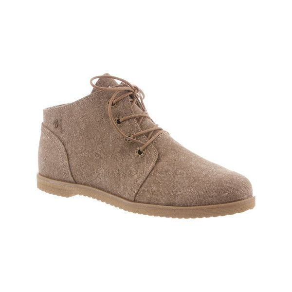 Women's Bearpaw Claire Desert Boot (47 CAD) ❤ liked on Polyvore featuring shoes, boots, ankle booties, brown, brown lace up boots, brown flats, short brown boots, canvas flats and brown boots