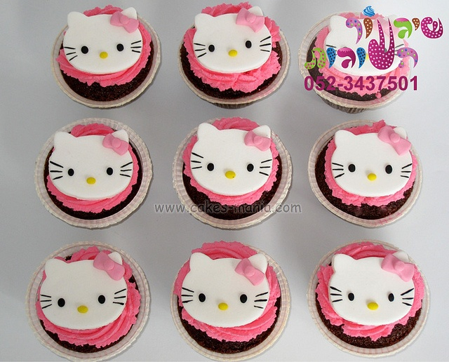 hallo kitty cupcakes by cakes-mania  קאפקייקס הלו קיטי מאת שיגעון העוגות  - www.cakes-mania.com