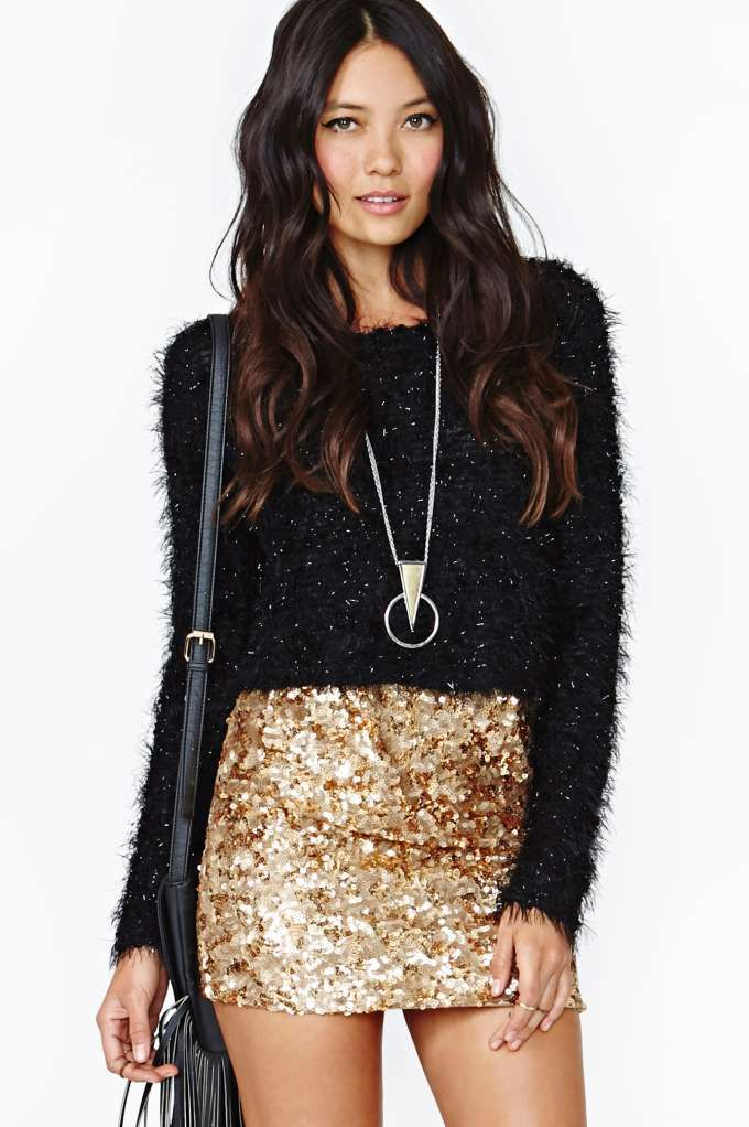 e872b76cc0 Rare London Gold Crush Sequin Skirt | My Dream Closet | Fashion, Fashion  outfits, Sequins