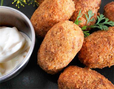 Croquetas de Quinoa con Boletus. Usa pan rallado libre de gluten si eres celíaco. Buena sustitucion para las croquetas tradicionales.