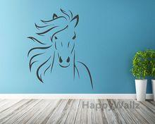 paard dier sticker vinyl kunst aan de muur moderne paard muur decoratieve sticker diy paard decor behang nurser hete verkoop gratis verzending(China (Mainland))