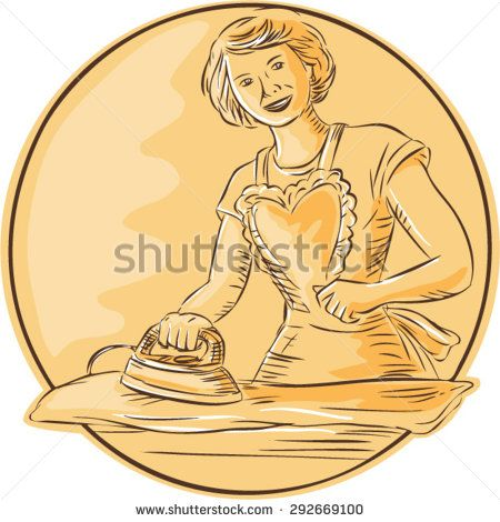 Etching engraving handmade style illustration of a homemaker housewife ironing clothes vintage style viewed from front set inside circle on isolated background