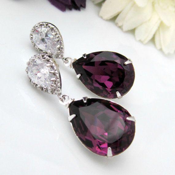Amethyst Bridal Earrings Purple Teardrop Bride Earring Plum Wedding Jewelry Swarovski Crystal Dark Sterling Bridesmaid Gift Fan Of Fashion