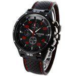 Weijieer 5020 Analog Quartz Watch Rubber Band Round Dial for Men