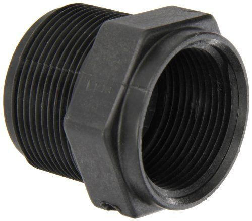 """Banjo RB150-125 Polypropylene Pipe Fitting, Reducing Bushing, Schedule 80, 1-1/2 NPT Male x 1-1/4"""" NPT Female  Reducer bushing for connecting two pipes with different diameters and end types  Male NPT threads on one end and female NPT threads on the other for connecting pipes with different ends  Precision molded in sterilizable polypropylene for dimensional stability and reinforced with fiberglass for added durability, strength, and chemical resistance  Handles pressures up to 150 psi..."""