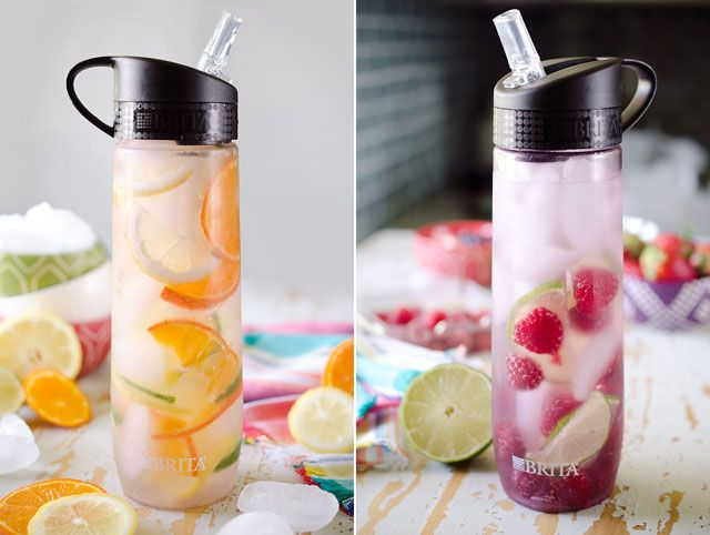 Fruit Water in Brita Personal Water Bottle--peaches and ginger, pineapple and basil, blueberry and mango, sliced citrus, raspberries and lime, cherries and oranges, strawberries and cucumber.