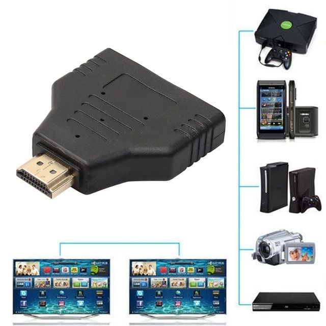 New Hdmi Splitter Cable 1080p Hdmi Port Male To Female 1 In 2 Out Splitter Cable Adapter Converter Auto Switch Extender Adapter Re Hdmi Splitter Hdmi Splitters