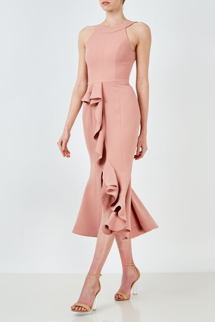 NICHOLAS - Crepe Asymmetric Ruffle Dress Rose