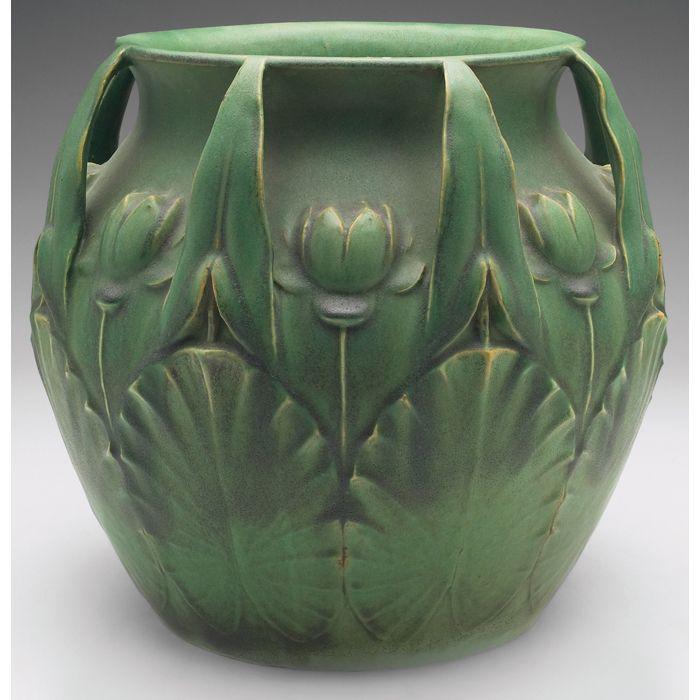 Leaf handles: Rookwood Pottery - lily jardinere