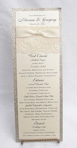 Glitter and Lace Wrapped Wedding Reception Menus, Wedding Menus, by Lavender Paperie on Etsy