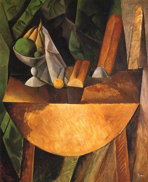 """PANES Y FRUTERO SOBRE UNA MESA"" 1908 - PABLO PICASSO. Cubismo analitico - Protocubismo o cubismo cezaniano"