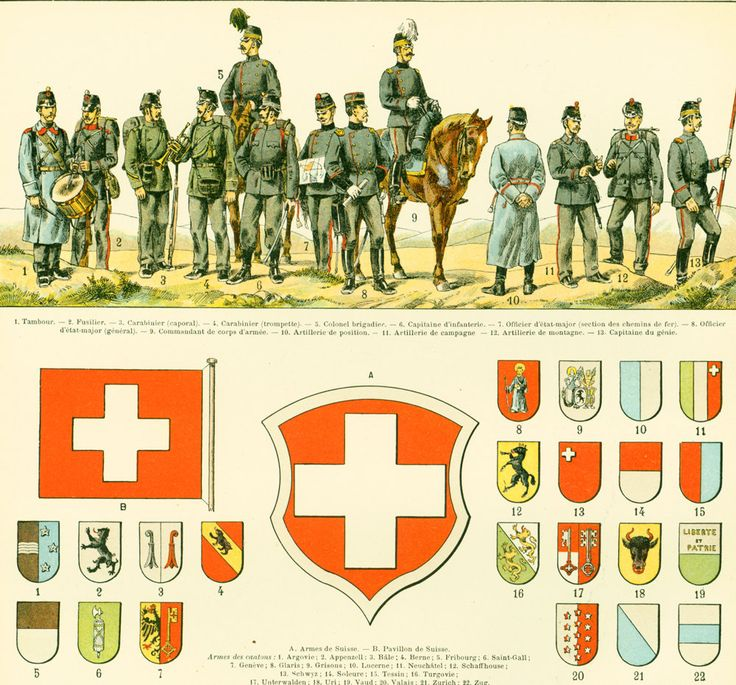 1897 Uniformes militaires Carte Suisse Drapeaux Planche Originale Nouveau Larousse illustré Grand Format Illustration 115 ans d'âge de la boutique sofrenchvintage sur Etsy