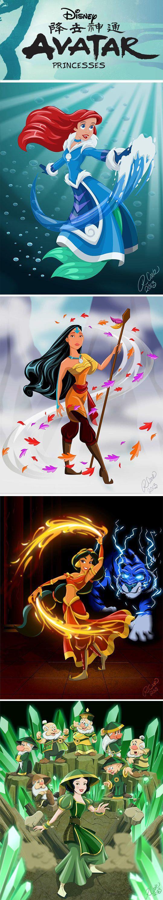 E se as Princesas da Disney fossem dobradoras de elementos?