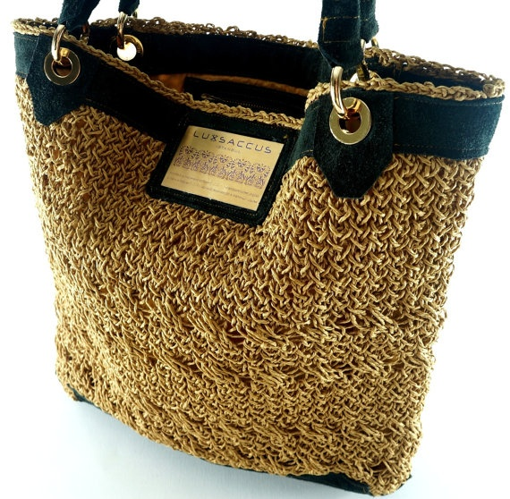 Haute Couture Tote bag  Light Brown  Organic Jute by LUXSACCUS, $289.99