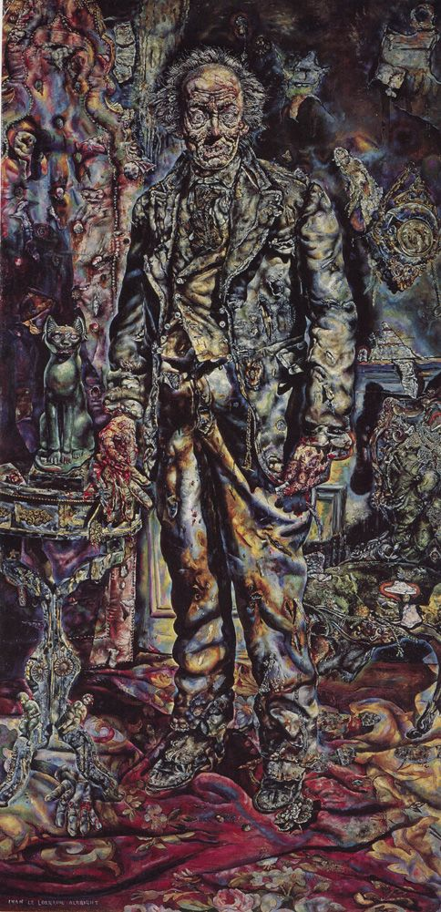 Ivan Albright, The Picture of Dorian Gray, 1943-44  From the Art Institute of Chicago:    Ivan Albright painted this lurid portrait for the Oscar-winning movie adaptation of Oscar Wilde's 1891 novel The Picture of Dorian Gray. In Wilde's tale, Dorian Gray commissions a portrait of himself as an attractive young man and later trades his soul for an ever-youthful appearance. As the still-handsome Gray leads an increasingly dissolute and evil life, his painted representation rots and decay