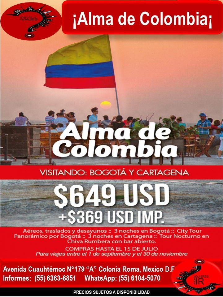 ¡Alma de Colombia¡   Llámanos al 6363-6851 escríbenos al correo: buzon@romaagenciadeviajes.com o Visitamos en: Avenida Cuauhtemoc 179 A Colonia Roma CDMX de Lunes a Viernes de 10 am a 19 hrs y sábados y domingos de 11 hrs a 15 hrs (Cerramos puentes y días festivos) También puedes visitar la pagina web: www.romaagenciadeviajes.com donde pulsando el botón de BOLETOS podrás reservar en linea las 24 hrs del día Boletos Aéreos, Hoteles y Paquetes y aprovechar los meses sin intereses con las…