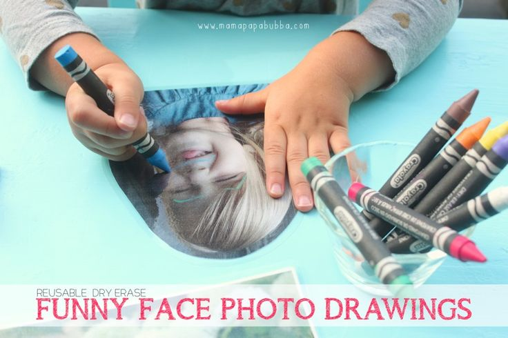 Reusable Dry Erase Funny Face Photo Drawings | Mama.Papa.Bubba.