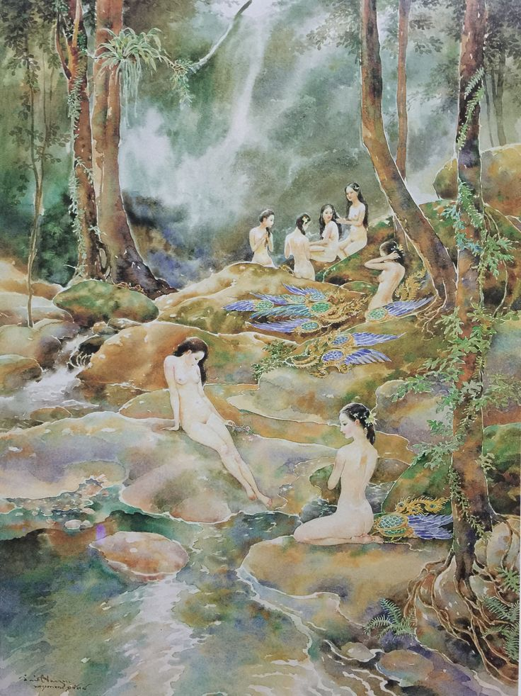 """""""The seven bathing kinnaris"""", 1995, watercolor on paper, by Chakrabhand Posayakrit, a Thai national artist"""