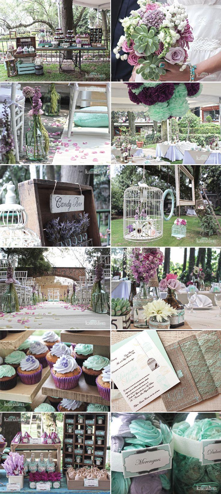 www.kamalion.com.mx - Boda / Wedding / Vintage / Rustic / Menta & Morado / Mint & Purple