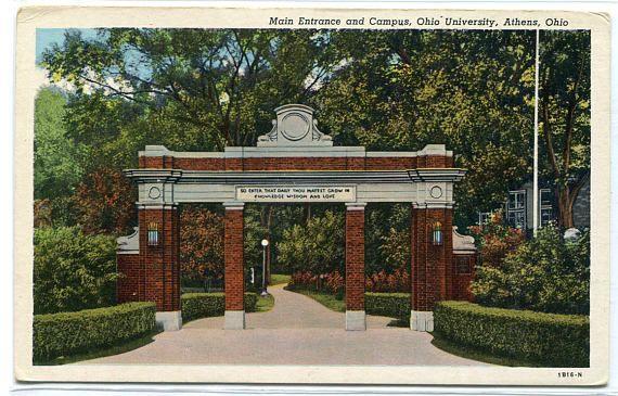 Main Entrance Campus Ohio University Athens OH postcard