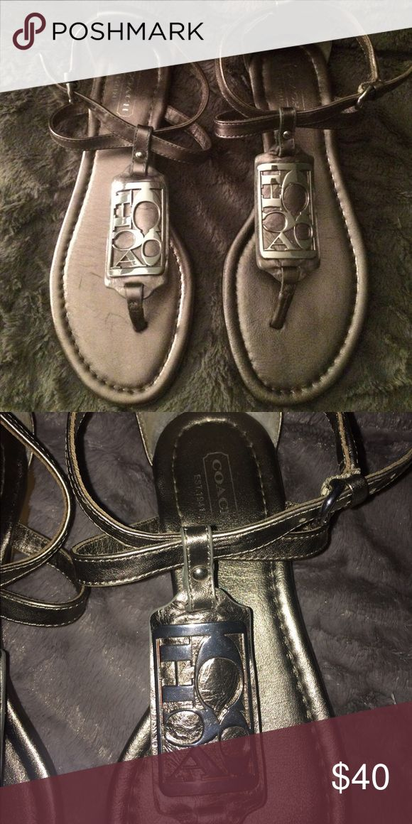 Coach Pewter Sandal Coach Pewter Sandals- worn once. In excellent condition. Size 6. Coach Shoes Sandals