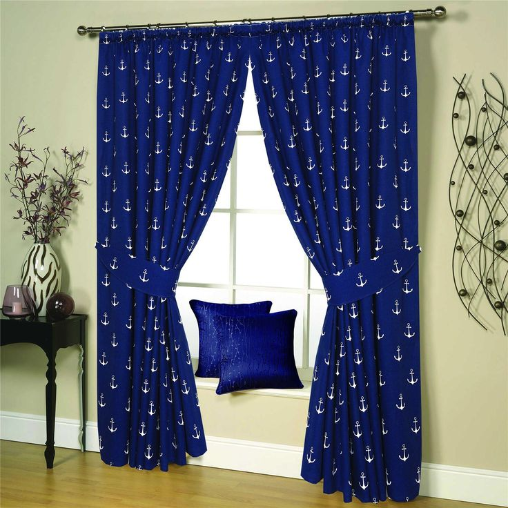 PAIR OF PENCIL PLEAT LINED THERMAL NAUTICAL CURTAINS WITH TIEBACKS –NAVY BLUE –BRIGHTON