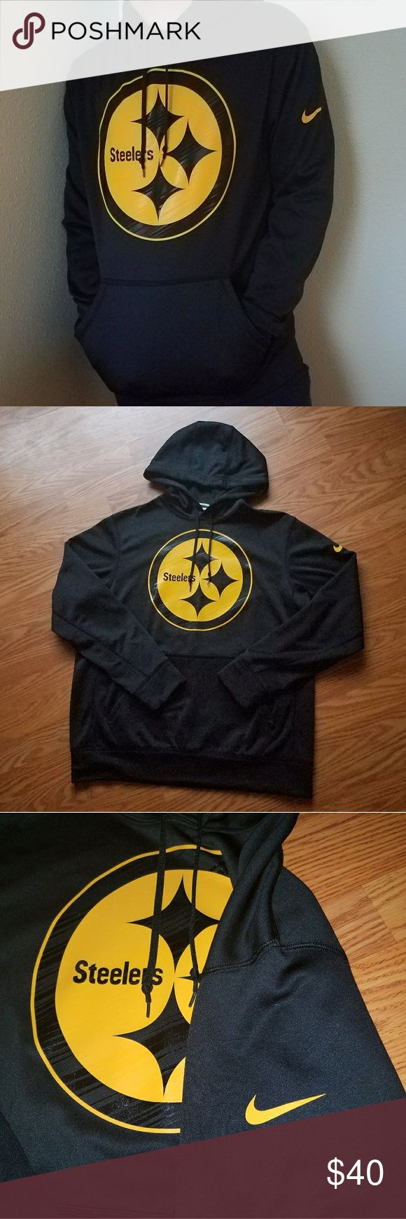 NEW Steelers Nike Thermafit🏈✅✴ ✴NWOT and No flaws! NFL Nike Thermafit Hoodie, lined with soft fleece and moisture wick fabric outside (color in pics exact) ✴Size medium and drawstring hood, loose fitting ✴Bought for $100 from NFL Shop, feel free to ask any questions or send an offer using the offer button! ✴Bundle for 10% off! Nike Jackets & Coats Performance Jackets