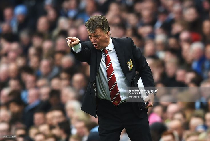 Louis van Gaal manager of Manchester United reacts during the Barclays Premier League match between Manchester City and Manchester United at Etihad Stadium on March 20, 2016 in Manchester, United Kingdom.