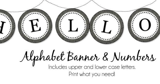 alphabet banner printables black and white polka dots