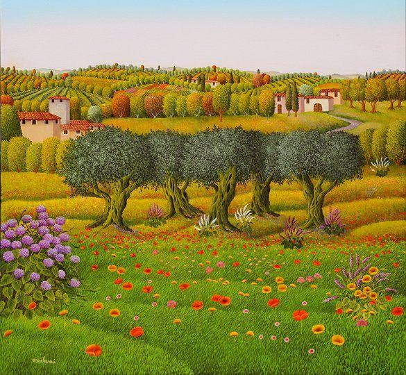 Paesaggio Toscano  by Cesare Marchesini of Italy