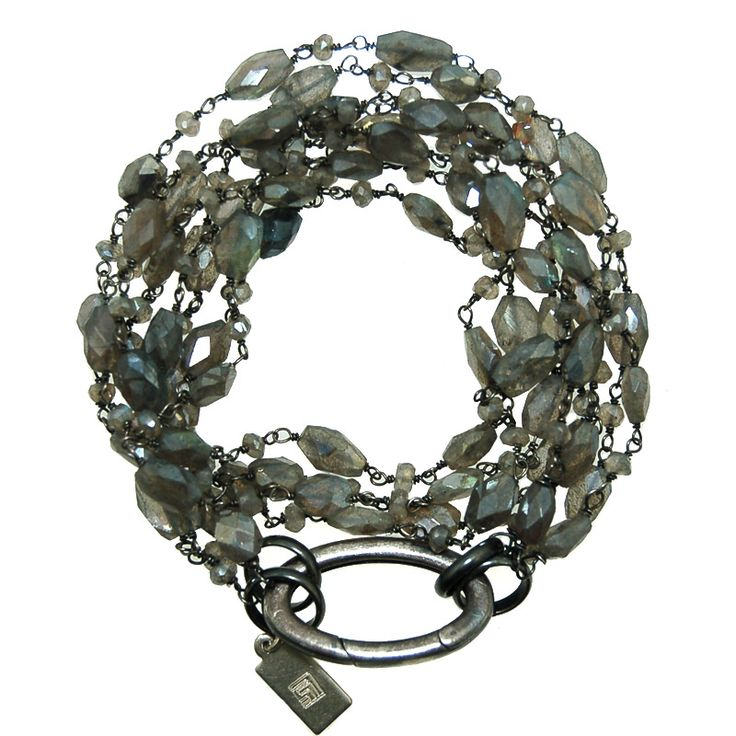 Labradorite and Gem Chain Bracelet Necklace Combo (DB119MW)  $225