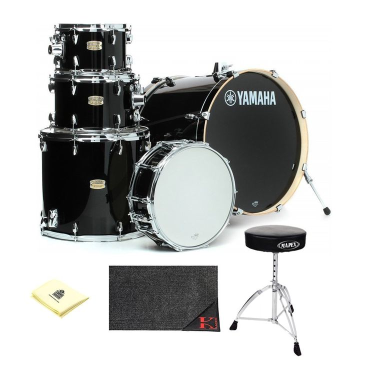"""Yamaha Stage Custom Birch 22"""" Kick 5-Piece Shell Pack in Raven Black Finish With Kaces KCP45 - Kaces Econo Drum Rug, Mapex T270A Double Brace Round top Drum Throne And Custom Designed Instrument Cloth     by Yamaha   jsmartmusic88.com"""
