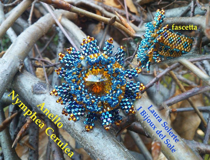 Ring made with Swarovski crystaland Miyuki beads