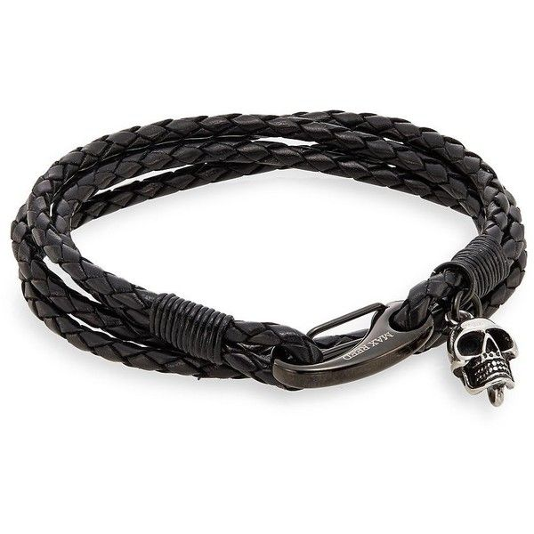 Jan Leslie Braided Leather Wrap Bracelet (165 CAD) ❤ liked on Polyvore featuring men's fashion, men's jewelry, men's bracelets, mens bracelets, mens skull bracelets, mens leather braided bracelets, mens leather bracelets and men's wrap bracelet