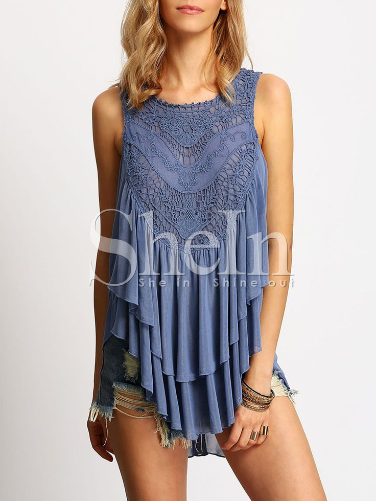 Shop Blue Sleeveless Crochet Layers Ruffle Blouse online. SheIn offers Blue Sleeveless Crochet Layers Ruffle Blouse & more to fit your fashionable needs.