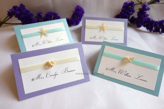 Featured on CTV  Beach wedding place card with natural seashells, starfish, and Swarovski crystal by MemorableBliss