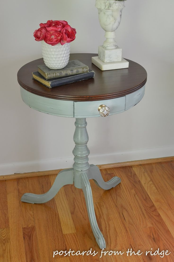 Drum table updated with paint and Anthropologie knob