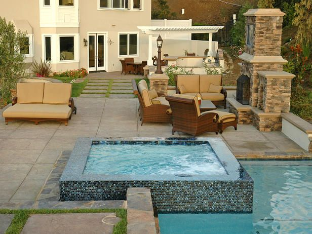 love this water feature!: Pools Patio Backyard Design, Outdoor Furniture, Outdoor Living, Dreams Backyard, Beautiful Backyard, Outdoor Fireplaces, Hot Tubs, Outdoor Spaces, Backyard Pools