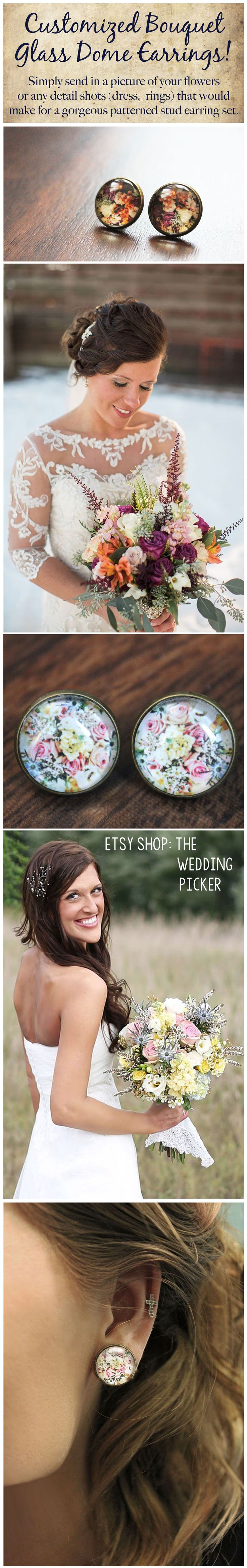 Customized Wedding Bouquet earrings! Great anniversary gift! Keepsake earrings. Floral pattern is perfect for everyday wear!