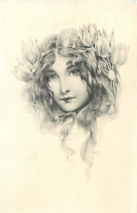 Beautiful long haired girl with elaborate tulip headband ~ 1904
