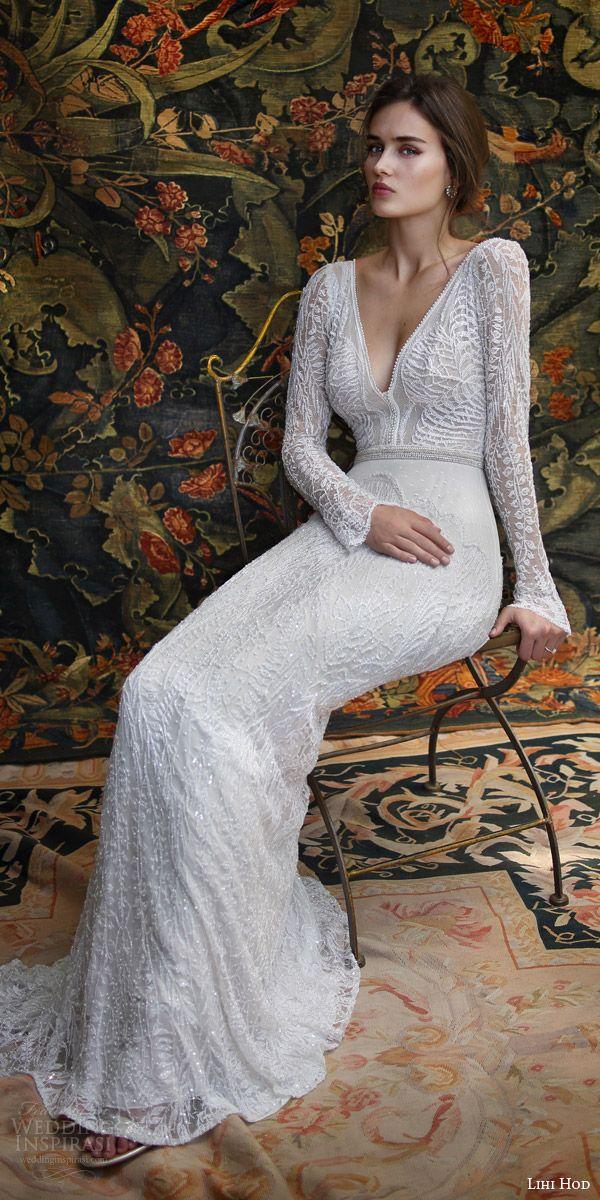 lihi hod bridal 2016 florence long sleeve wedding dress sheath silhouette deep v neckline